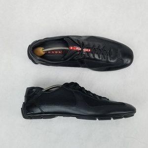 PRADA Leather Hybrid Lace Driving Loafer Sneaker